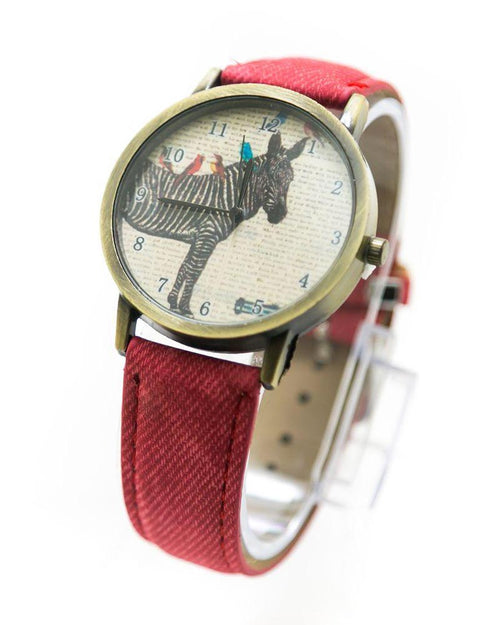 Fancy Mens Watch Zebra Print With Red Belt – MWS-002 - Mens Watches - diKHAWA Online Shopping in Pakistan