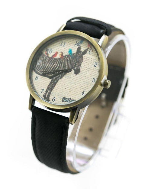 Fancy Mens Watch Zebra Print With Black Belt – MWS-003 - Mens Watches - diKHAWA Online Shopping in Pakistan