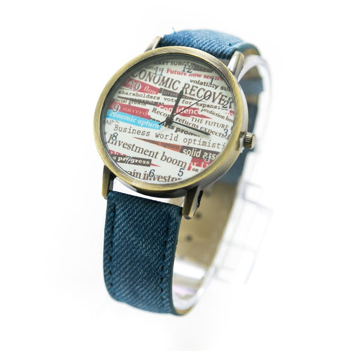 Fancy Mens Watch News Paper Print With Blue Belt – MWS-007