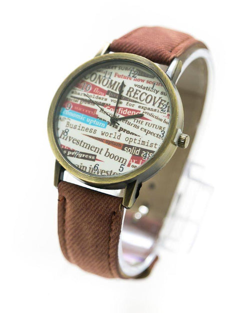 Fancy Mens Watch News Paper Print With Brown Belt – MWS-008 - Mens Watches - diKHAWA Online Shopping in Pakistan
