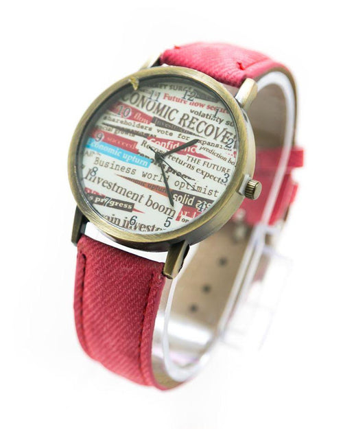 Fancy Mens Watch News Paper Print With Red Belt – MWS-009 - Mens Watches - diKHAWA Online Shopping in Pakistan