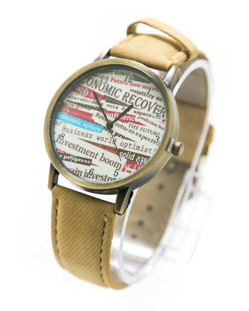 Fancy Mens Watch News Paper Print With Skin Belt – MWS-010 - Mens Watches - diKHAWA Online Shopping in Pakistan