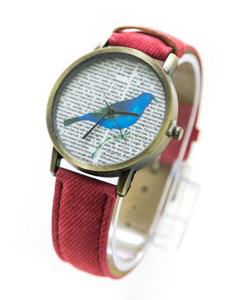 Fancy Mens Watch News Bird Print With Red Belt – MWS-005 - Mens Watches - diKHAWA Online Shopping in Pakistan