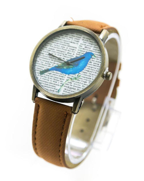 Fancy Mens Watch News Bird Print With Brown Belt – MWS-006 - Mens Watches - diKHAWA Online Shopping in Pakistan
