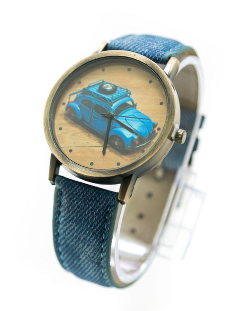 Classic Mens Watch Foxy Print With Blue Belt – MWS-014 - Mens Watches - diKHAWA Online Shopping in Pakistan