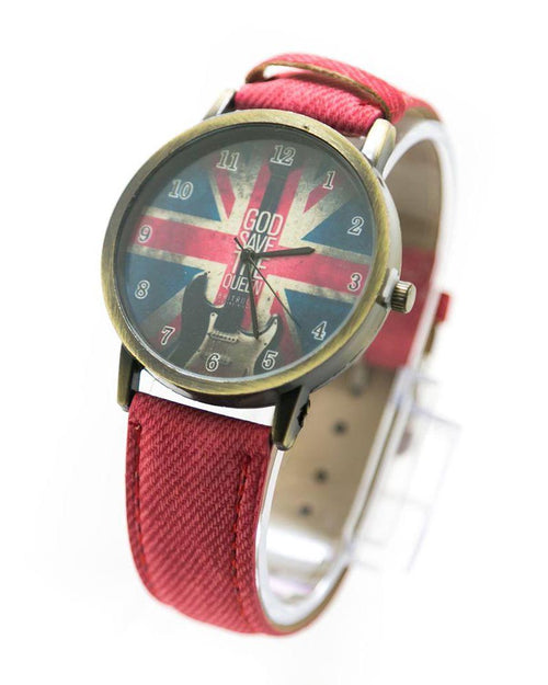 Watch For Men UK Flag Print With Red Belt – MWS-014 - Mens Watches - diKHAWA Online Shopping in Pakistan