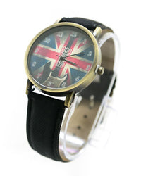 Watch For Men UK Flag Print With Black Belt - MWS-015 - Mens Watches - diKHAWA Online Shopping in Pakistan