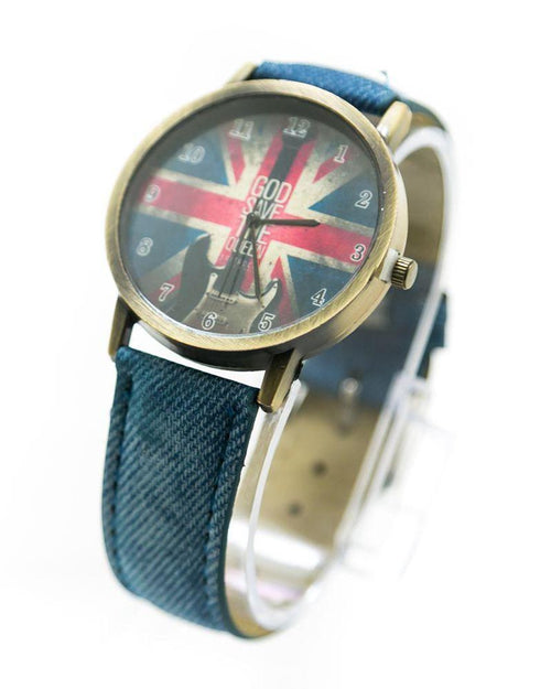 Watch For Men UK Flag Print With Blue Belt – MWS-016 - Mens Watches - diKHAWA Online Shopping in Pakistan