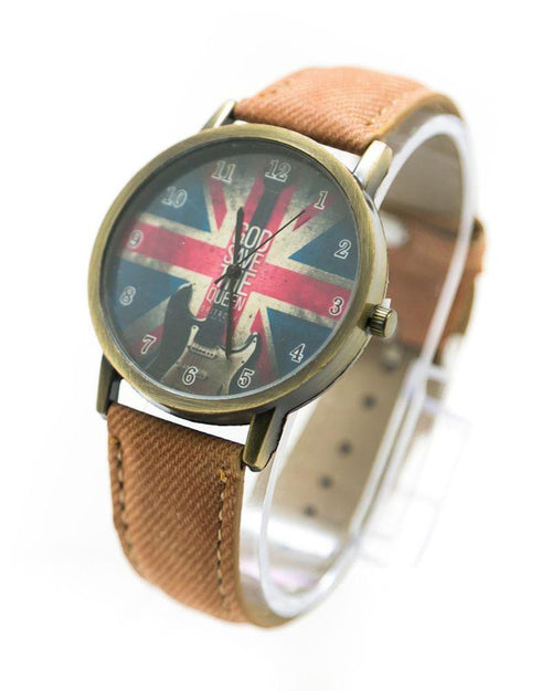 Watch For Men UK Flag Print With Brown Belt – MWS-017 - Mens Watches - diKHAWA Online Shopping in Pakistan
