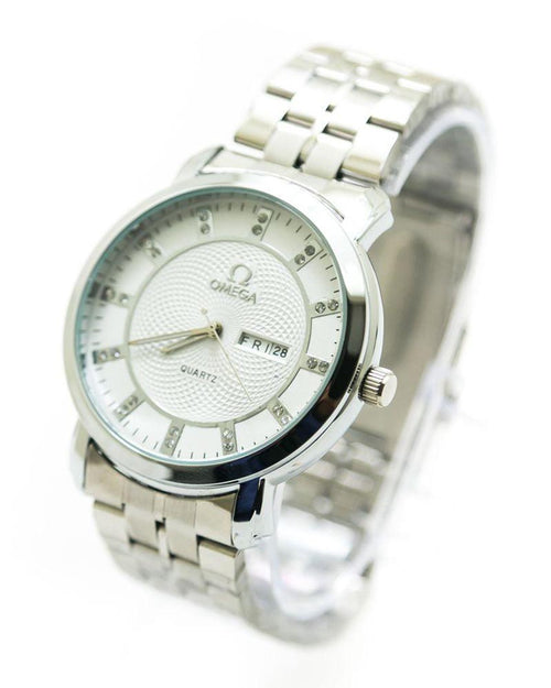 Omega Men Watch With White Dial & Silver Chain – 8368G