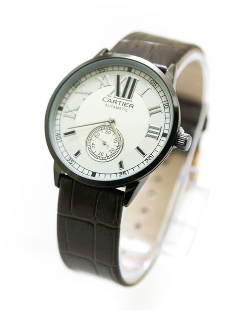 Cartier Men Watch With White Dial & Brown Belt – 0223 - Mens Watches - diKHAWA Online Shopping in Pakistan
