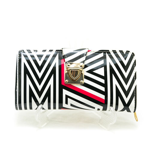 Ladies Hand Purse – Exclusive Black & White Stripes – HPS-01 - Ladies Purse - diKHAWA Online Shopping in Pakistan