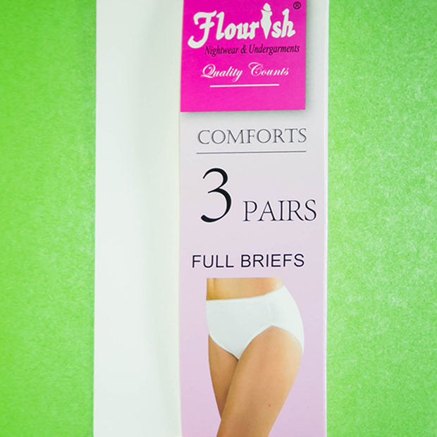 Pack of 3 - Full Briefs - Flourish Cotton Panty - FL-512