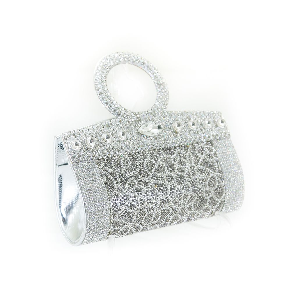 Bridal Purse Silver With Diamond & Stones – BPS-114 - Ladies Purse - diKHAWA Online Shopping in Pakistan