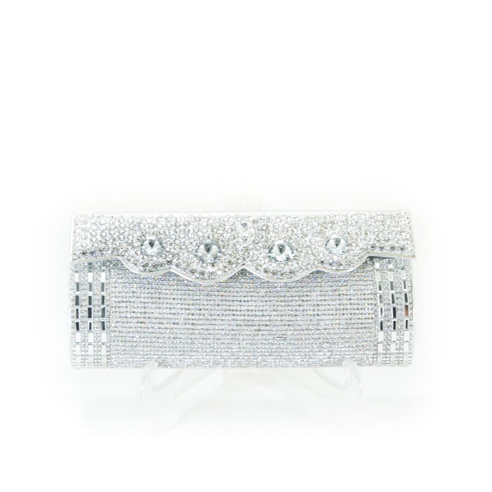 Bridal Purse Silver With Diamond & Stones – BPS-105 - Ladies Purse - diKHAWA Online Shopping in Pakistan