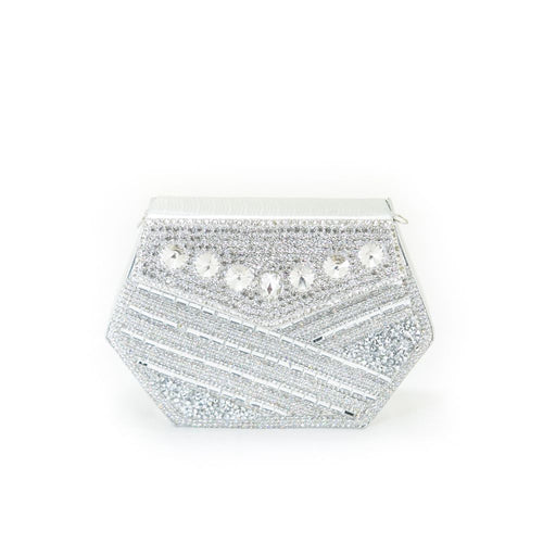 Bridal Purse Silver With Diamond & Stones – BPS-101 - Ladies Purse - diKHAWA Online Shopping in Pakistan