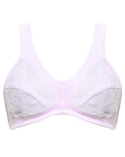 Soft Cotton Net Bra - Etching Free Bra - Non Padded - Pink Bra