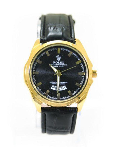 Buy Rolex Mens Watches With Golden Dial & Black Belt – WL-5908B Online in Karachi, Lahore, Islamabad, Pakistan, Rs.1200.00, Mens Watches Online Shopping in Pakistan, Rolex, Belt Watches, cf-type-watches, cf-vendor-rolex, Fancy Watches, For Boys, For Men, Round Dial Watches, diKHAWA Online Shopping in Pakistan