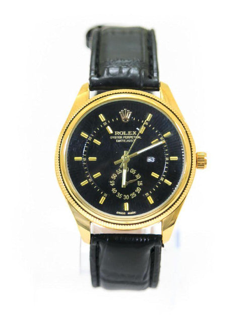 Rolex Mens Watches With Golden Dial & Black Belt – WL-5909B - Mens Watches - diKHAWA Online Shopping in Pakistan