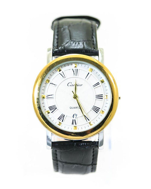 Cartier Mens Watches With Gold & White Dial & Black Belt – WL-905 - Mens Watches - diKHAWA Online Shopping in Pakistan