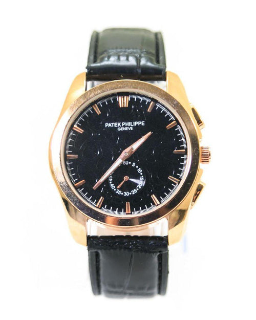 Patek Philippe Men Watch With Gold Dial & Black Belt – MWS-201