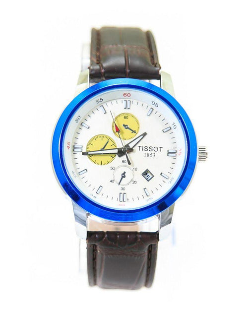 Tissot Mens Watches With Blue & White Dial & Brown Belt – WL-4023B