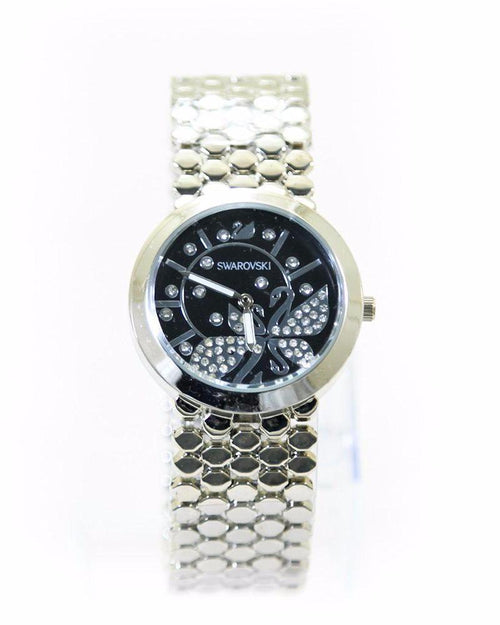 Swarovski Ladies Watch – Silver Chain With Black Dial - Ladies Watches - diKHAWA Online Shopping in Pakistan