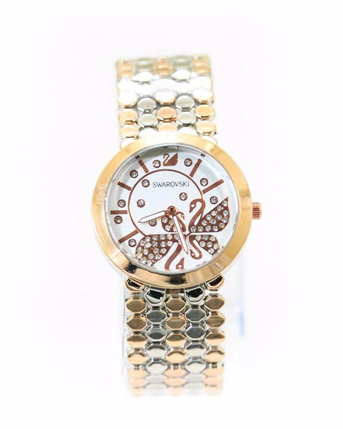 Swarovski Diamond Watch – Rose Gold & Silver Chain With White Dial - Ladies Watches - diKHAWA Online Shopping in Pakistan
