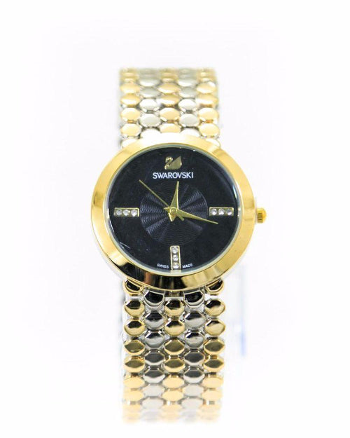 Swarovski Diamond Watch – Gold & Silver Chain With Black Dial - Ladies Watches - diKHAWA Online Shopping in Pakistan