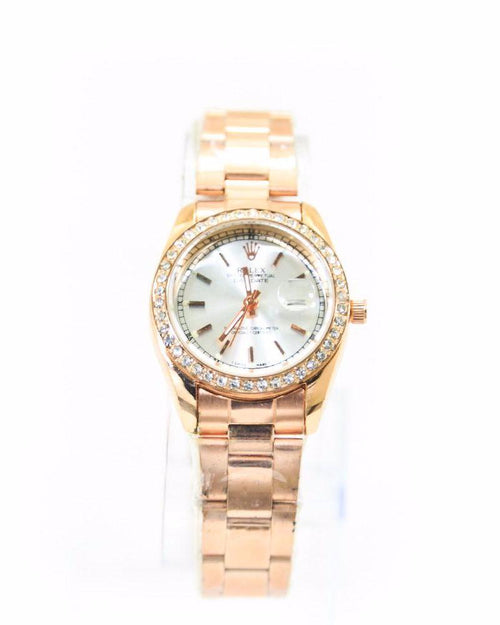 Rolex Ladies Watch – Rose Gold With Silver Dial & Diamonds - Ladies Watches - diKHAWA Online Shopping in Pakistan