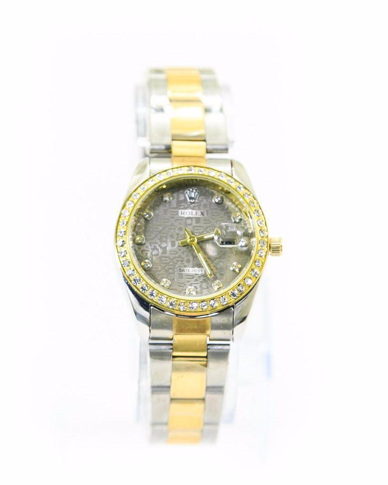 Rolex Ladies Watch – Gold & Silver With Grey Dial & Diamonds - Ladies Watches - diKHAWA Online Shopping in Pakistan