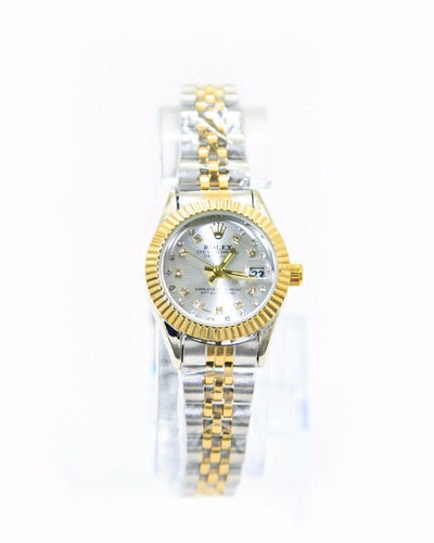 Classic Rolex Ladies Slim Watch – Gold & Silver Chain With Silver Dial - Ladies Watches - diKHAWA Online Shopping in Pakistan