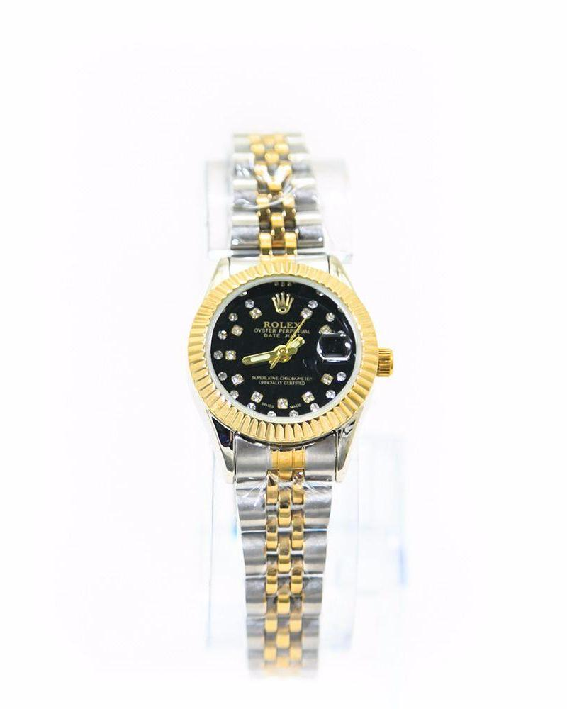Classic Rolex Ladies Slim Watch – Gold & Silver Chain With Black Dial - Ladies Watches - diKHAWA Online Shopping in Pakistan