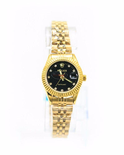Classic Rolex Ladies Slim Watch – Golden Chain With Black Dial - Ladies Watches - diKHAWA Online Shopping in Pakistan