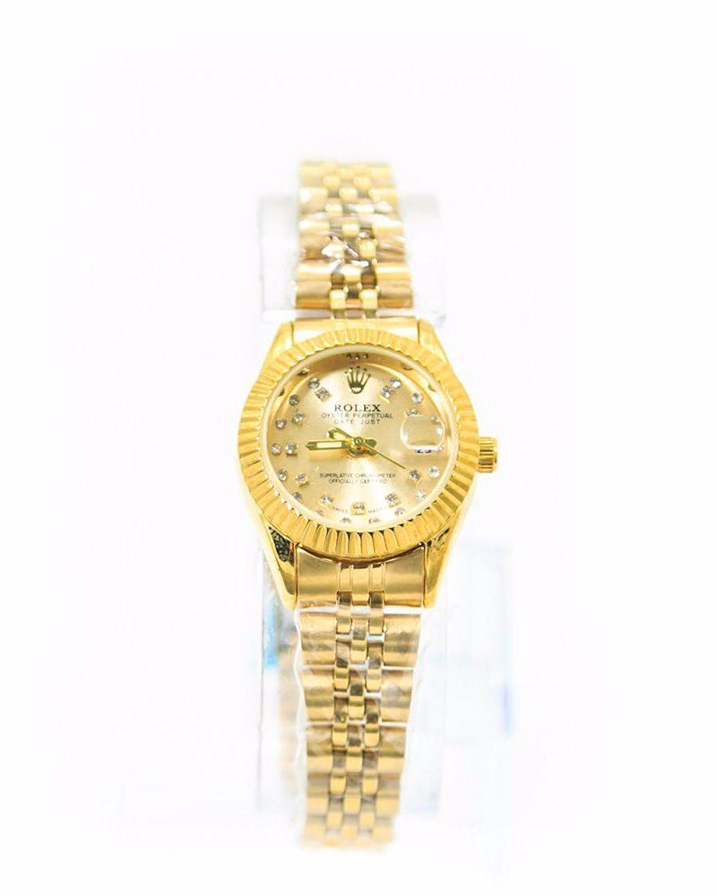 Classic Rolex Ladies Slim Watch – Gold Chain With Gold Dial - Ladies Watches - diKHAWA Online Shopping in Pakistan