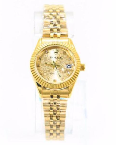 Classic Rolex Mens Watch – Gold Chain With Gold Texture Dial