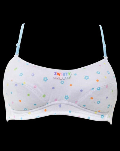 College Girl White Bra with Colorful Flowers - Cotton Bra