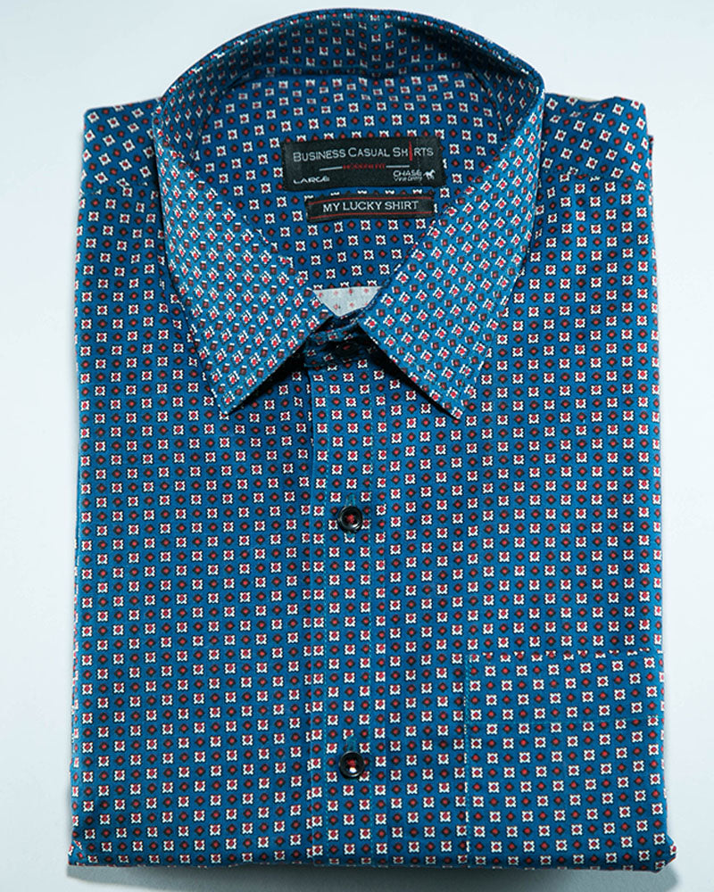 Mens Cotton Business Casual Shirt & Party Shirts - Blue - Online ...