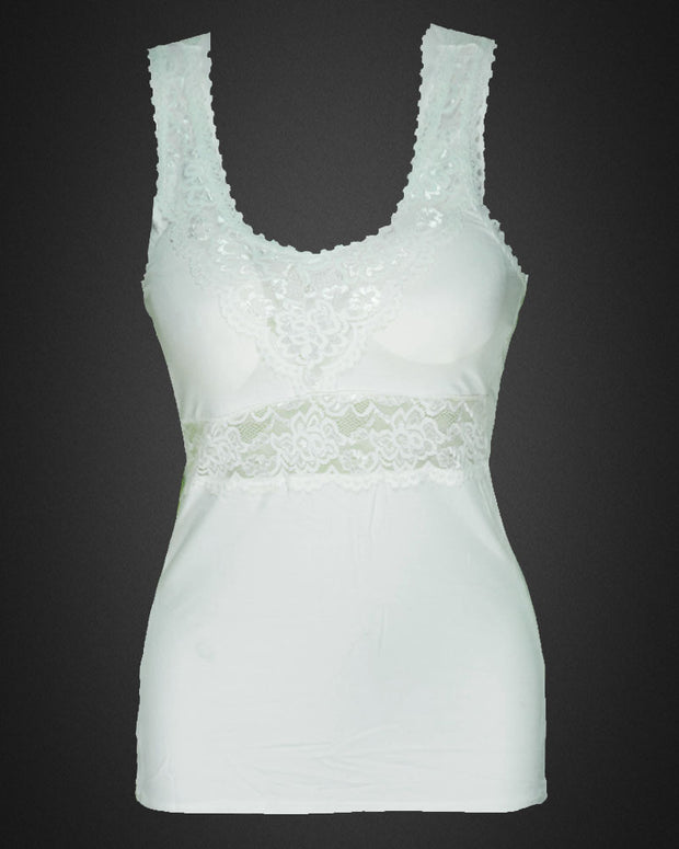 Premium Embroidered Camisole Padded With Lace - White Color - 8783