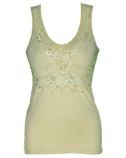 Premium Embroidered Camisole Padded With Lace - Skin Color - 8783