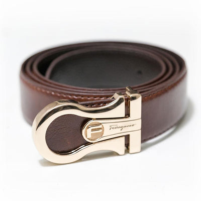 Ferragamo Brown Leather Belts For Men - Belts - diKHAWA Online Shopping in Pakistan