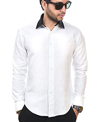 Mens Cotton White Plain Shirt With Black Collar & Party Shirts By Tommy Hilfiger