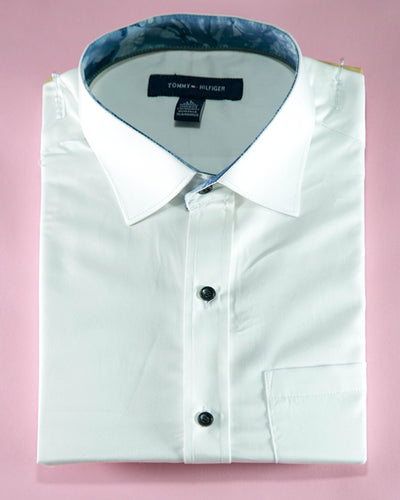 Mens Cotton White Plain Shirt & Party Shirts By Tommy Hilfiger