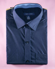 Mens Cotton Navy Blue Plain Shirt & Dress Shirts By Tommy Hilfiger