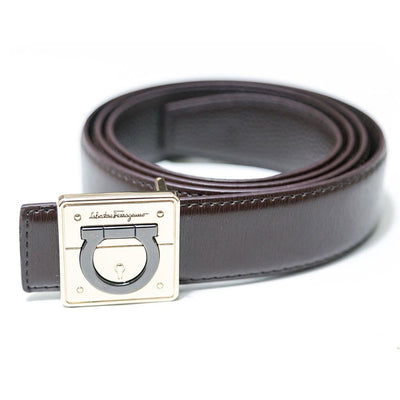 Ferragamo Brown Leather Belts -  Gancio Golden Buckle For Men - Belts - diKHAWA Online Shopping in Pakistan