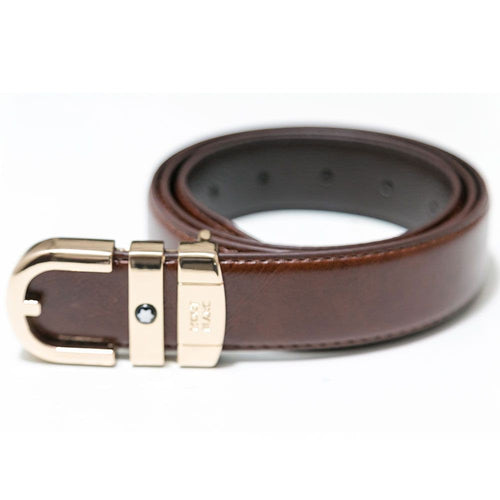 Mont Blanc Brown Leather Belts For Men - Golden Buckle - Belts - diKHAWA Online Shopping in Pakistan