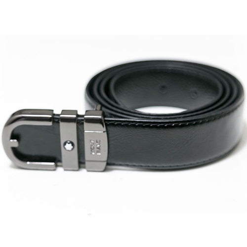 Mont Blanc Black Leather Belts For Men - Silver Buckle - Belts - diKHAWA Online Shopping in Pakistan