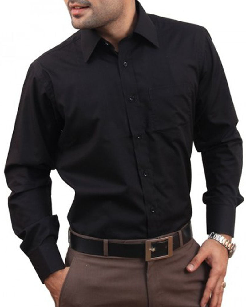 Mens Cotton Black Plain Shirt & Dress Shirts By Tommy Hilfiger