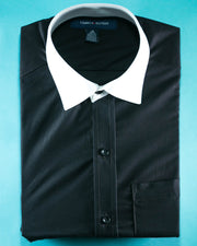 Mens Cotton Plain Black Shirt With White Collar & Sleeves & Dress Shirts By Tommy Hilfiger