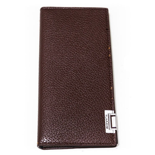 Bovi's Crocodile Lines Brown Leather Stylish Mens Card Wallet - Travel Wallets - Mens Card Wallets - diKHAWA Online Shopping in Pakistan